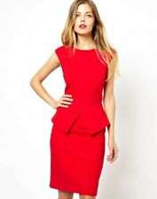 TED BAKER Evvie red peplum dress bodycon pencil midi cocktail evening party 4 14