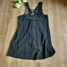 Whistles black silk sleeveless floral detail loose relaxed top size 16 occasion