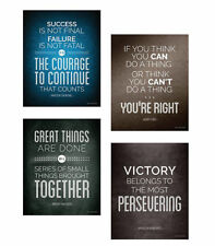 Motivational Quotes Decorative Print Posters - 4 Piece, 8 x 10 Inch