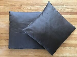 2 Pottery Barn Pillow Covers Brown Silk, Tan trim, & Synthetic Inserts