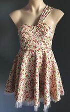 As New Unique Floral LALA GIRL One Shoulder Tulle Hem Skater Dress Size 8