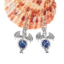 Zinc Alloy Silver Plated Dragon Locket w/ Lava Beads Handmade Earring Hook 1Pair