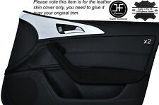Puntada Negro 2X Tarjeta de puerta frontal adorno de Cuero Piel Cubierta se ajusta Audi A6 C7 11-15