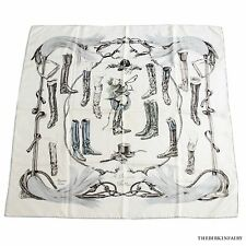 AUTHENTIC HERMES  A Props de Bottes Silk 90cm Scarf White