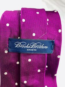 Brooks Brothers Makers Woven Purple white spot 100% Silk Neck tie USA Men's used