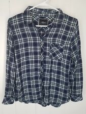 Rails Shirt size M blue green white  plaid button front long sleeve Top