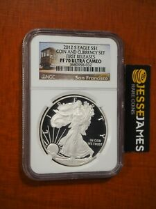 2012 S PROOF SILVER EAGLE NGC PF70 ULTRA CAMEO FR FROM COIN & CURRENCY SET