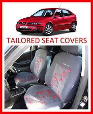 Fundas de los asientos a medida para SEAT LEON 1999-juego completo de 2005 gris-rojo terciopelo