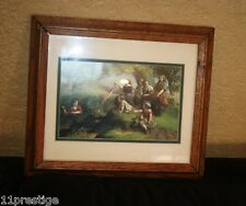 FRAMED PRINT PAINTING WOOD CLEANING  SCENERY CHILDRENS