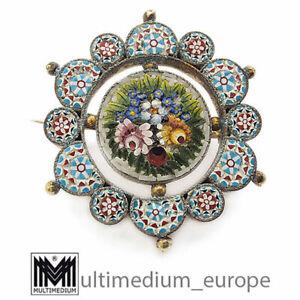 Millefiori Brosche Jugendstil 1860 Mikromosaik Blumen micro mosaic 🌺🌺🌺🌺🌺