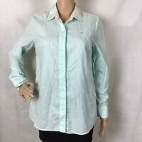 Vineyard Vines Women's Button Front Top Size 6 Green White Stripe 100% Cotton