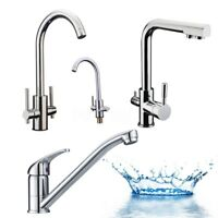 Modern Kitchen Deck Sink Mixer Tap Monobloc Chrome Brass Swivel Spout Faucet