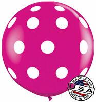 "3ft HUGE 36"" Polka Dot Wild Berry Pink QUALATEX Balloon Latex Balloon Decoration"