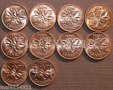 1970 TO 1979 BU CANADA 1 CENT MINT STATE (10 COINS) >>FREE $HIPPING IN CANADA!<<