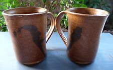 NEW ANDERSON Pottery~TWO Coffee Beer Mugs~Glazed Brown Stoneware~Hand Thrown2001