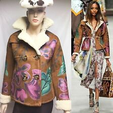 $6,500 Burberry Prorsum 6 40 HandPaint Suede Shearling Leather Jacket Coat Women