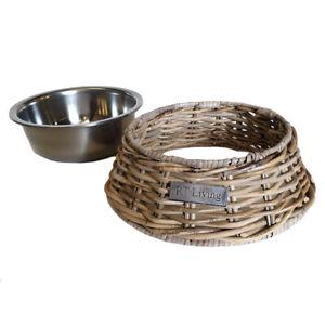 Grey Rattan Pet Feeding Drinking Bowl Wicker Stainless Bowl High End Cat Dog Pet