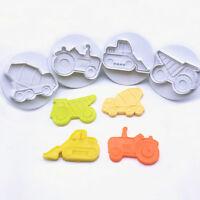 4pcs Car Plunger 3D Fondant Mold Cutter Cake Cookie Sugarcraft Decor Mould Kits