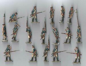 Zinnfiguren  Bemalt / Flachfiguren  30mm . 17 Figuren, Preußen  Musketiere