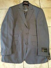 NWT Mecca Men Pinstripe Suit 2BT. Peak Wide Leg Pants Super 150S Jacket 42L