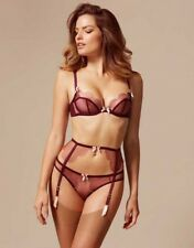 Agent Provocateur Scalloped Lorna Bra Size 34C & Suspender Belt & Brief 3 Set