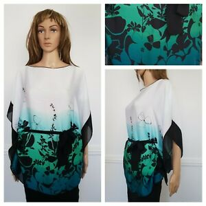 ❤️STUNNING teal blue white ombre light wear silky tunic blouse top one size 1327