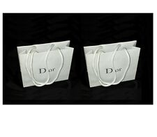Set of 2 Christian Dior Designer Gift Bag white with grey silver Authentic