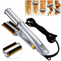 Professional 3in1 2-Way Hot Iron Hair Rotating Curling Brush Adjustable heat dp