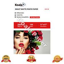 Koala 100 Sheets 11x17 Premium Matte Inkjet Printer Photo Paper Canon HP 29lbs