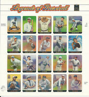 3408 Legends of Baseball Mint Sheet of 20 x 33 Cent Stamps - Stuart Katz