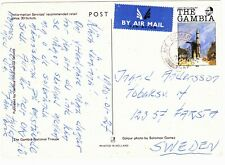 GAMBIA 1986 POST CARD EX CAPE ST MARY TO SWEDEN