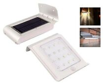 SILVER 16 LED SOLAR POWER LIGHT PIR MOTION RECHARGEABLE SENSOR SECURITY OUTDOOR