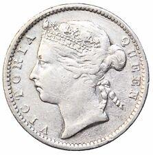 1895 Straits Settlements Silver 10 Ten Cents British Queen Victoria KM#11