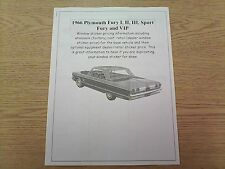 1966 Plymouth Fury cost/dealer retail sticker pricing for car + options $$$