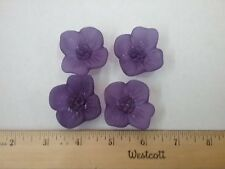Vintage Frosted Acrylic  Floral Blossom 2 hole Purple Flower Buttons Lot of 4