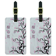 Cherry Blossoms - Tree Asian Japanese Symbols Luggage Suitcase ID Tags Set of 2