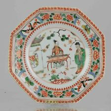 Antique ca 1700 Kangxi Famille Verte Chinese Porcelain Plate Figural Landscape