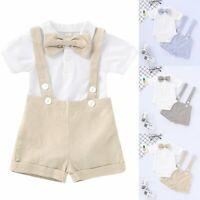 Toddler Baby Boy Gentleman Bowtie Romper Shirt+Suspender Pants Shorts Outfit Set