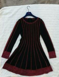 Maje  Stunning Striped  Skater Red  and Black  dress Size 3 , UK 10 / 12 .