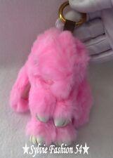 Bijou de sac porte clé peluche grand lapin tout doux fourrure rose