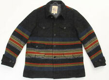 Monitaly Rider Horse Blanket Charcoal Stripe Wool Coat Size 44 - XL