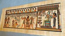 "Huge Signed Handmade Papyrus Egyptian Judgment Day Art Painting...32""x12"" Inches"