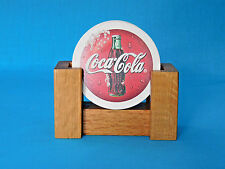 COCA-COLA Stoneware 4-piece Set COASTERS with Oak Rack Coke Cork Backs Bar Soda