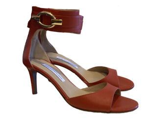 Diane Von Furstenberg Size 8 Orange Leather Heels Brand New Made In Spain Design