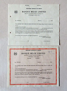 BELGIUM Banque Belge 2x certificate of deposit bill specimen 1970 script bank