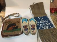 Antique Native American Moccasins Glass Beaded Frog Flower Hand Made Folk Art