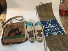 Antique Native American Moccasins Glass Beaded Frog Flower Hand Made Folk Art