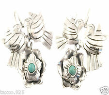 FRIDA KAHLO STYLE TAXCO MEXICAN STERLING SILVER TURQUOISE BIRD EARRINGS MEXICO