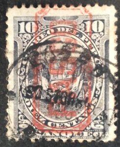Peru 1884 PASCO overprint in red on 10 Cent blue black stamp vfu