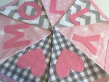 Girls Boys Personalised Fabric Bunting Banner Birthday Baby Pink & Grey Fabric